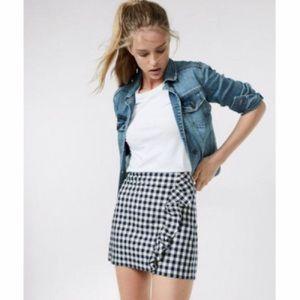 Express Gingham Ruffled Skirt